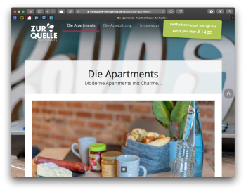Website «Apartmenthaus Zur Quelle, Wernigerode»
